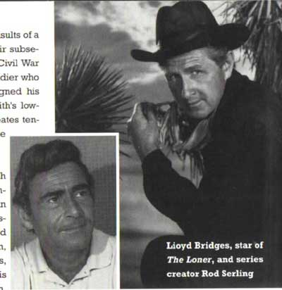 "Rod Serling and Lloyd Bridges premiering ""The Loner"""