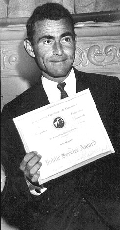 Rod Serling accepting a public service award