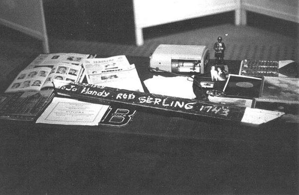 Table full of Rod Serling memorabilia