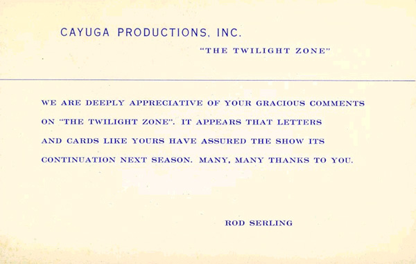 Rod Serling fan letter