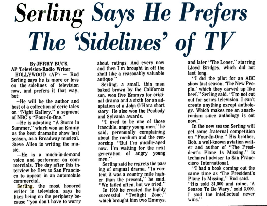 "Rod Serling ""an antique"""