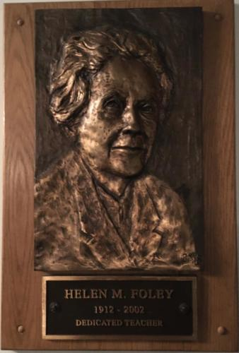 Helen Foley's plaque at BHS